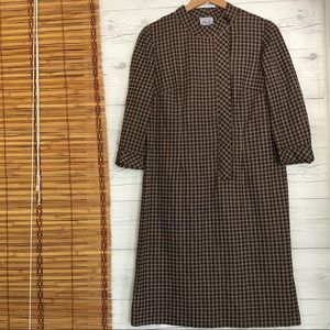 Vintage Nellie Don Dress Checkered Button Front
